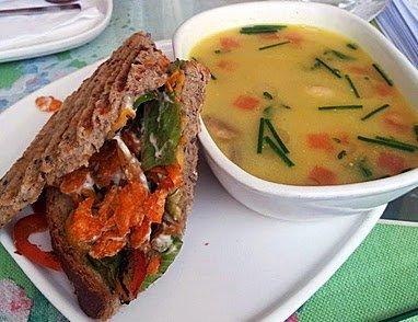 Smokehouse Deli Seafood soup & sandwich