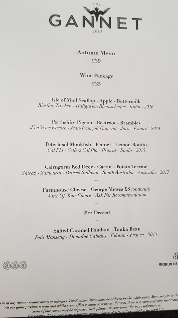 the gannet menu 1